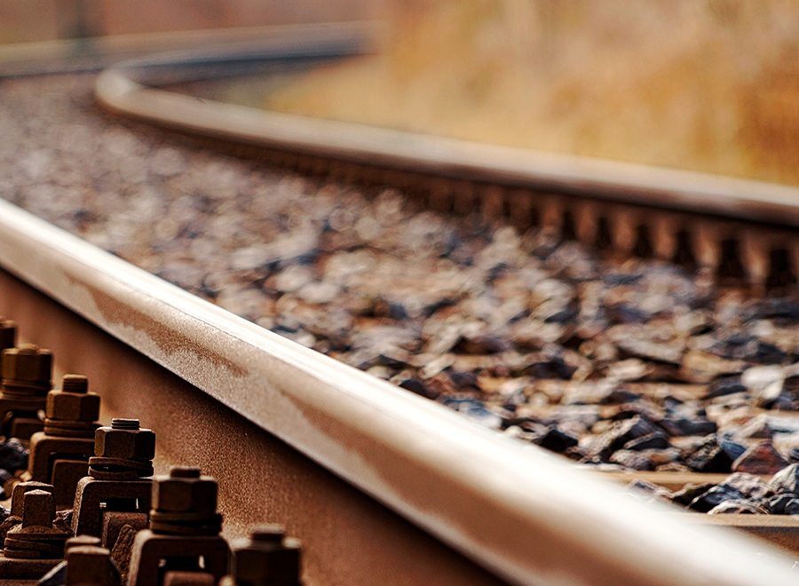 Railway track close-up